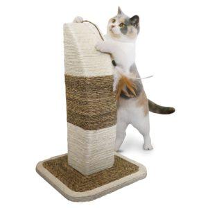 Griffoir vertical pour chat avec plume
