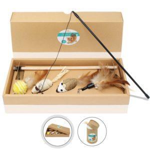 Canne à pêche avec 4 jouets comme embouts