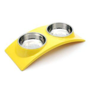 Double gamelle en acier inoxydable jaune, fond anti-dérapant pour chat
