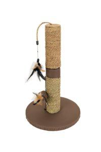 Poteau griffoir pour chat avec jouets plume