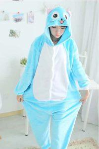 Déguisement Kigurumi chat bleu et blanc