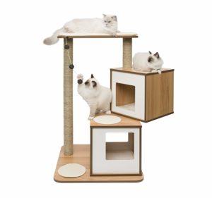 Arbre à chat moyen Vesper avec 2 paniers, en bois de noyer et blanc