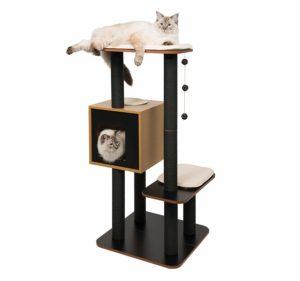 Arbre à chat Vesper, bois de noyer et noir