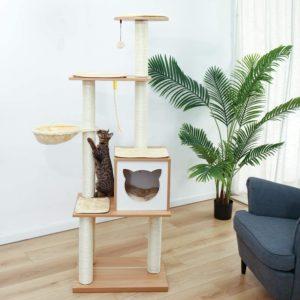 Grand arbre à chat en bois naturel Eono