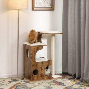 Arbre à chat en bois foncé Feandra