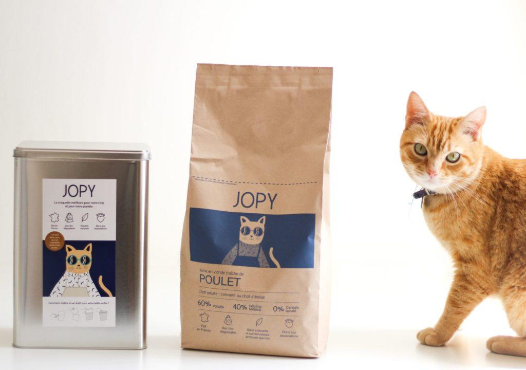 Les croquettes pour chats JOPY sans céréales et au poulet qui se soucient de notre planète